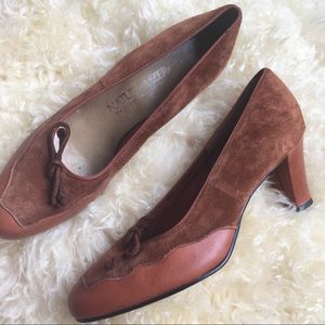 Vintage Oxford Style Heeled Loafers Leather Loafer